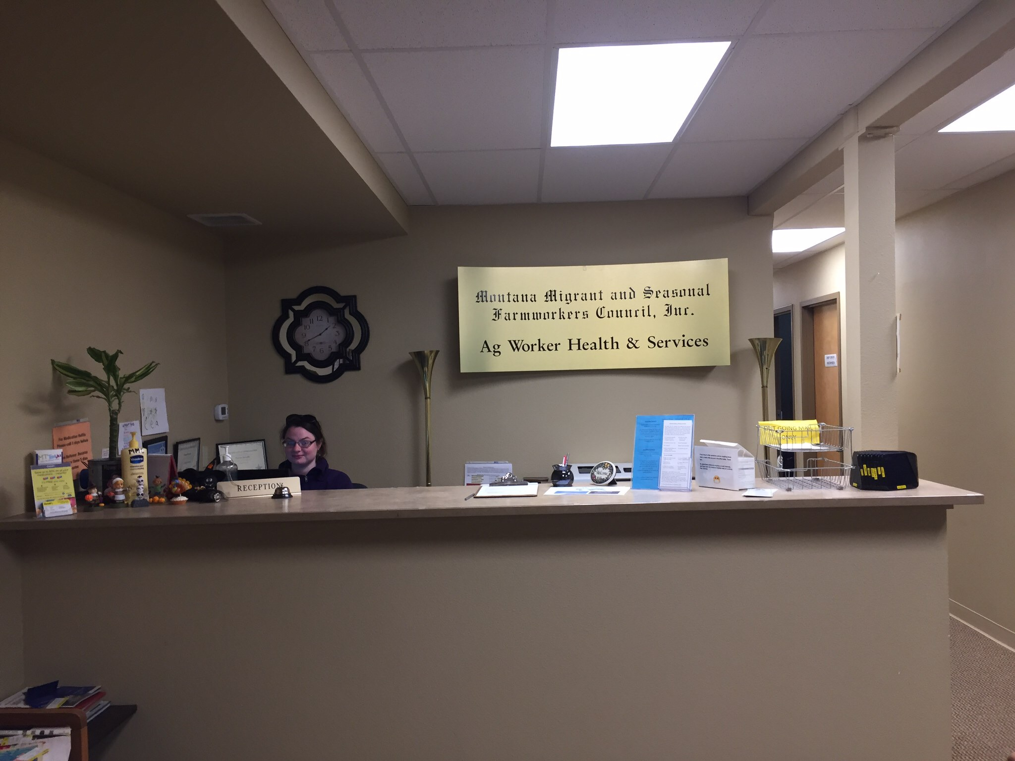 Front desk of an Ag Worker Health & Services clinic